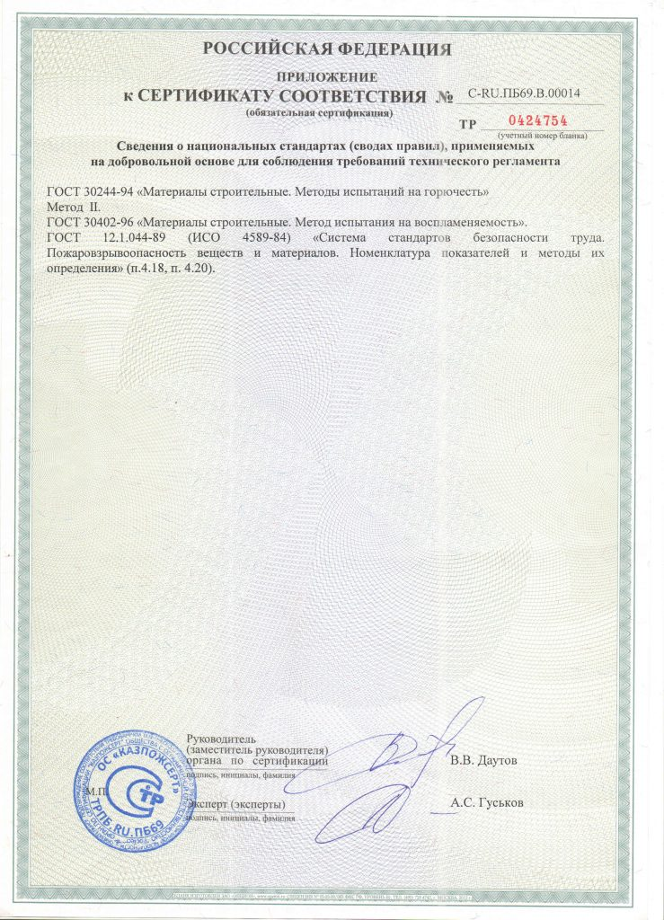 Сертификат на стеклосетку Елабуга