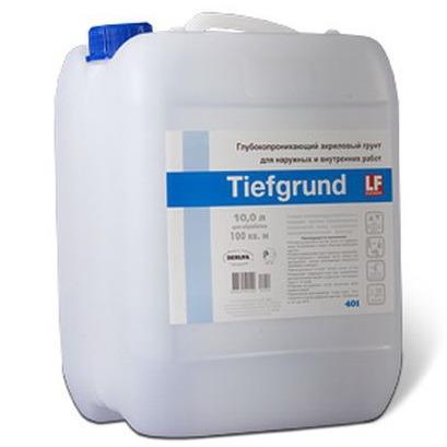 Грунтовка глубокого проникновения TIEFGRUND является акрилгидросолом с гидроизолирующим и укрепляющим воздействием, используется для внутренних и наружных работ.